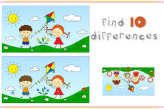 A boy with a girl playing with a kite on a meadow. Educational g. Ame for kids: find ten differences. Vector illustration Royalty Free Stock Photos