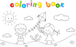A boy and a girl playing in the meadow and launching a kite. Col. Oring book. Vector illustration Royalty Free Stock Images