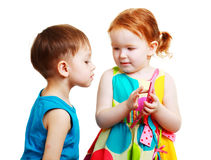 Boy and girl playing with mobile Royalty Free Stock Photo