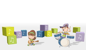 Boy and girl playing music on a band. stock illustration