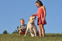 Boy and girl playing with pet dog royalty free stock image