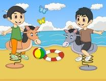 Boy and girl playing rocking horse at the beach cartoon Royalty Free Stock Photos
