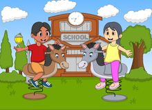Boy and girl playing rocking horse at the school cartoon Royalty Free Stock Image