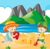 Boy and girl playing sand on the beach Royalty Free Stock Photography
