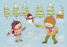 Boy and Girl Playing With Snow. A nice illustration of a boy and girl playing with snow during winter time Stock Image