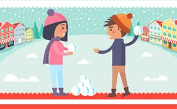 Boy and Girl Snowball Fight Vector Illustration. Boy and girl playing snowball fight, kids having fun in winter city with buildings and trees, clear sky and Royalty Free Stock Images