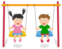 Boy and Girl Playing on Swing vector illustration