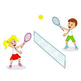 Boy and girl playing tennis Royalty Free Stock Photography