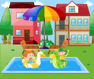 Boy and girl playing in the water at home. Illustration Stock Photos