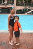Boy & girl at the pool. Boy & girl with swimming costume at the pool royalty free stock photos