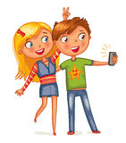 Boy and girl posing together. Friends making selfie.  Funny cartoon character. Vector illustration.  on white background Stock Photo