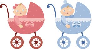 Boy and girl in a pram Royalty Free Stock Image