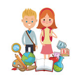 Boy and girl pupils school equipment Royalty Free Stock Photography