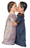 Boy and Girl Puppets Kiss stock image