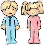 Boy and Girl in Pyjamas Royalty Free Stock Photography