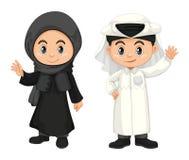 Boy and girl in Qatar costume. Illustration royalty free illustration