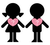 Boy and girl with questions in hearts Royalty Free Stock Images