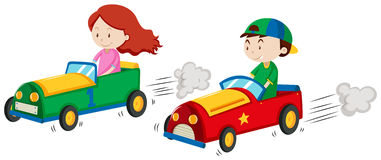 Boy and girl in racing car Royalty Free Stock Image