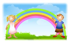 Boy and Girl With Rainbow Stock Images