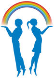 Boy and girl with rainbow. Vector illustration of a boy and girl are holding a rainbow Royalty Free Stock Photos