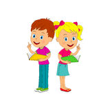 Boy and girl read  book Stock Photography