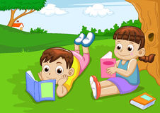 Boy and girl reading vector illustration