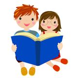 Boy and girl reading book Stock Photography