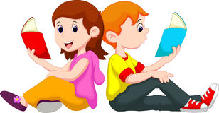 Boy and girl reading book Royalty Free Stock Images