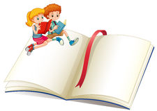 Boy and girl reading book. Illustration Stock Photo