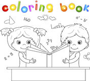 Boy and girl reading book together. Vector illustration for chil Royalty Free Stock Photos