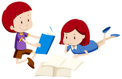 Boy and girl reading books. Illustration Stock Image