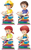 Boy and girl reading books Royalty Free Stock Images