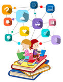 Boy and girl reading books. Illustration Royalty Free Stock Photography