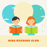 Boy and Girl Reading Books. Kids Reading Club Sign. Reading and Education Concept Royalty Free Stock Images