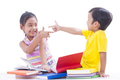Boy and girl reading books Royalty Free Stock Photo