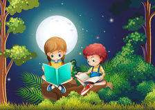 Boy and girl reading books in the woods at night. Illustration Stock Images