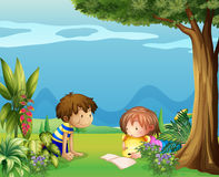 A boy with a girl reading in the garden. Illustration of a boy with a girl reading in the garden Royalty Free Stock Images