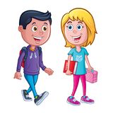 Boy and Girl Ready for School. Cartoon of boy and girl grade school kids that are ready for school with backpack, lunch bag and book royalty free illustration