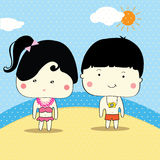 Boy and girl ready for swim in summer, vector Stock Images