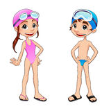 Boy and girl ready to swim. Funny cartoon and vector isolated sport characters Royalty Free Stock Photography