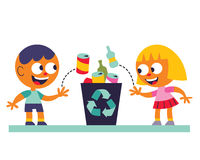 Boy and girl recycling. Good boy and girl recycling Stock Photography