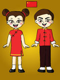 Boy and girl in red Chinese dress Stock Photography