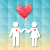 Boy and girl with red heart balloons Royalty Free Stock Images
