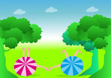 Boy and Girl relaxing. Boy and Girl relax on meadow stock illustration
