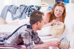 Boy and girl relaxing and talking Royalty Free Stock Photos