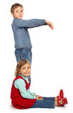 Boy with girl represent  letter C Royalty Free Stock Photography