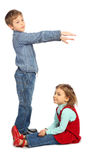 Boy with girl represent  letter g Stock Photo