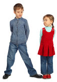Boy with girl represent  letter N Royalty Free Stock Photography