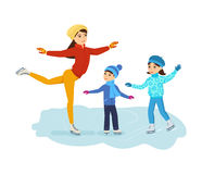 Boy and girl ride on ice, mom shows master class. Royalty Free Stock Photos
