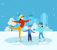 Boy and girl ride on ice, mom shows master class. Stock Photos